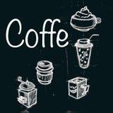 Vectorinzameling van het krijt van de koffiekrabbels van de bordstijl het van letters voorzien Royalty-vrije Stock Afbeeldingen