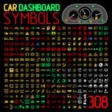 Vectorinzameling van het paneelindicatoren van het autodashboard en waarschuwingslichten