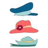 Vectorinzameling van hoeden voor mannen, vrouwen en kinderen geplaatste pictogrammen Stock Afbeeldingen