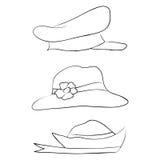 Vectorinzameling van hoeden voor mannen, vrouwen en kinderen geplaatste pictogrammen Royalty-vrije Stock Afbeeldingen