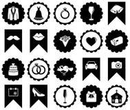 Vectorinzameling van Huwelijkspictogrammen en Silhouetten Stock Fotografie
