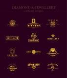 Vectorinzameling van juwelen en diamantemblemen Royalty-vrije Stock Fotografie