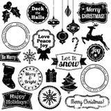 Vectorinzameling van Kerstmis en de Vakantiezegels van Grunge Stock Afbeelding