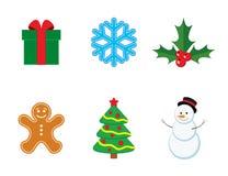 Vectorinzameling van Kerstmis en nieuwe jaarpictogrammen Stock Afbeelding