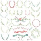 Vectorinzameling van Laurels, Bloemenelementen Royalty-vrije Stock Afbeeldingen