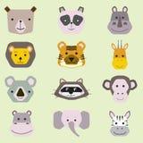 Vectorinzameling van leuke dierlijke die gezichten, pictogram voor babyontwerp wordt geplaatst stock illustratie