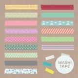Vectorinzameling van Leuke Gevormde Washi-Bandstroken Stock Afbeelding