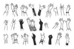 Vectorinzameling van menselijke handen omhoog, gebaren, duim omhoog, het begroeten, applaus zo op geïsoleerd op witte achtergron stock illustratie