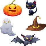 Vectorinzameling van op Halloween betrekking hebbende voorwerpen en Stock Afbeeldingen