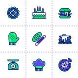 Vectorinzameling van overzichtspictogrammen, bakkerij en het koken Hoge qua Stock Foto