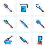 Vectorinzameling van overzichtspictogrammen, bakkerij, het koken De moderne pictogrammen van de premiekwaliteit geschikt voor inf stock afbeelding