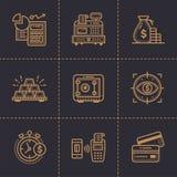 Vectorinzameling van overzichtspictogrammen, financiën, het beleggen premie Stock Foto