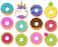 Vectorinzameling van Pret en Leuke Donuts vector illustratie