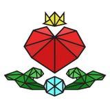 Vectorinzameling van veelhoekige rode harten op witte achtergrond met diamant en groen blad Stock Fotografie