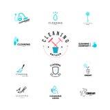 Vectorinzameling van vlak embleem voor het schoonmaken van bedrijf Stock Afbeelding