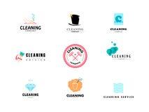 Vectorinzameling van vlak embleem voor het schoonmaken van bedrijf Royalty-vrije Stock Afbeelding