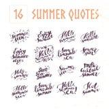 Vectorinzameling van vlakke artistieke hand geschreven de zomercitaten op witte achtergrond royalty-vrije illustratie