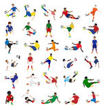 Vectorinzameling van voetballers Stock Fotografie