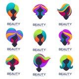 Vectorinzameling van vrouwen hoofdsilhouetten met trandy ombre Ha Stock Foto's