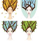Vectorinzameling van vrouwengezicht met symbolen van seizoenen stock illustratie