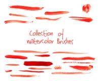 Vectorinzameling van waterverfborstels Stock Afbeelding
