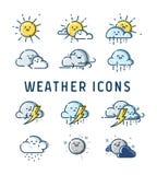 Vectorinzameling van weervoorspellings de leuke pictogrammen Stock Afbeelding