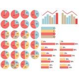 Vectorisvector isoleerde geplaatste infograpfics: pasteidiagrammen, grafieken, de groei en dalingsgrapfics, pijlen Royalty-vrije Stock Foto