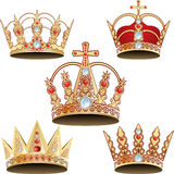 Vectorized crown. Golden crown, diamond Stock Image