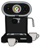 The black electric espresso maker. The vectorized hand drawing of a black electric espresso maker and two white cups vector illustration