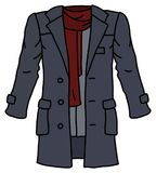 The gray coat with a red scarf. The vectorized hand drawing of a funny gray coat with a red scarf vector illustration