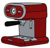 The red electric espresso maker. The vectorized hand drawing of a retro dark red electric espresso maker vector illustration
