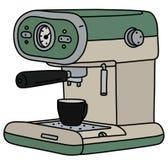 The retro green electric espresso maker. The vectorized hand drawing of a retro green and cream electric espresso maker and the black coffee cup vector illustration