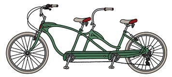 The green tandem bicycle. The vectorized hand drawing of a retro green tandem bicycle stock illustration