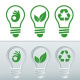 Vectorized icon sets for renewable energies. Light bulbs with icons of clean energies, bulb with leaf, bulb with recycling symbol. And bulb with hand symbol O.K Stock Photography