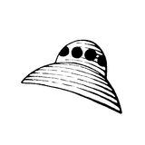 Vectorized Ink Sketch of an Alien Spaceship Stock Photo