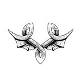 Vectorized Ink Sketch of Bat Wings Royalty Free Stock Photography
