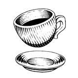 Vectorized Ink Sketch of a Coffee Cup Royalty Free Stock Image