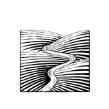Vectorized Ink Sketch of Hills and River Royalty Free Stock Photo