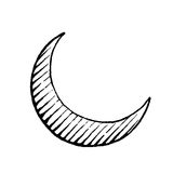 Vectorized Ink Sketch of Moon Royalty Free Stock Photo