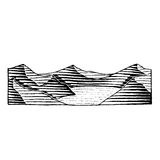 Vectorized Ink Sketch of a Mountain Lake Royalty Free Stock Photo