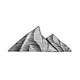 Vectorized Ink Sketch of Mountains Stock Image