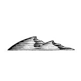 Vectorized Ink Sketch of Sand Dunes. Vector Illustration of a Scratchboard Style Ink Drawing of Sand Dunes Stock Photos