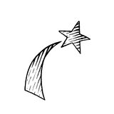Vectorized Ink Sketch of a Shooting Star Royalty Free Stock Photos