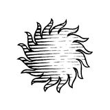 Vectorized Ink Sketch of Sun Royalty Free Stock Photos