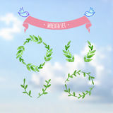 Vectorized watercolor wreath set on sky Stock Photography