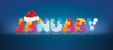 Vectorjanuari dat met alfabetraadsel wordt geschreven met Kerstmishoed Stock Afbeeldingen