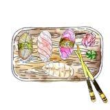 VectorJapanese kokkonst för tonfisk- och laxsashimi - fyra sorter av sashimien, ingefäran, wasabi och pinnar på en träbrädev stock illustrationer