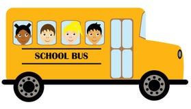 Vectorjonge geitjes die een Schoolbus berijden Stock Afbeelding