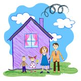 Vectorjonge geitjesschets van gelukkige familie Stock Foto's