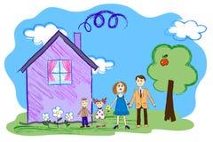 Vectorjonge geitjesschets van gelukkige familie met huis Stock Afbeelding